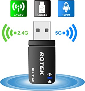 【2020最新版】WiFi 無線LAN 子機 ROTEK 超小型 usb 子機 親機両用 1200Mbps 放熱なデザイン 2.4G/5G デュアルバンド 無線LAN子機 ミニ Mac OS/WIN7/8/10/Vista/XP/Linux対応