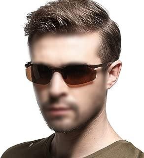 LUKEEXIN Men's Polarized Driving Sunglasses, Aluminum-Magnesium Alloy Glasses (Color : Brown)