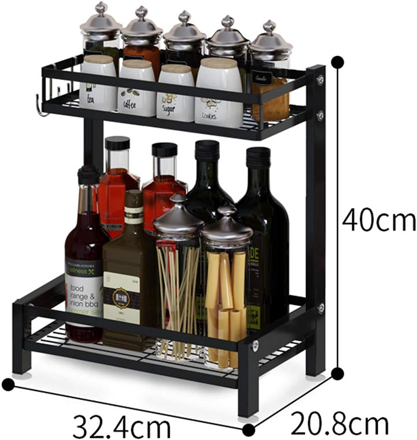 2-Tier Kitchen Countertop Organizer Holder,Stainless Steel Kitchen Racks Rack for Spice Jar, Can, Bottle and More (Size   A)