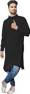 Lakkar Haveli Indian Men's Cotton Kurta Trail Cut Shirt Tunic Black Color Plus Size
