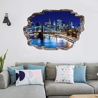 Ciudad de Nueva York Ciudad de Nueva York Paisaje Noche Skyline Vinilos decorativos Arte en 3D pegatinas