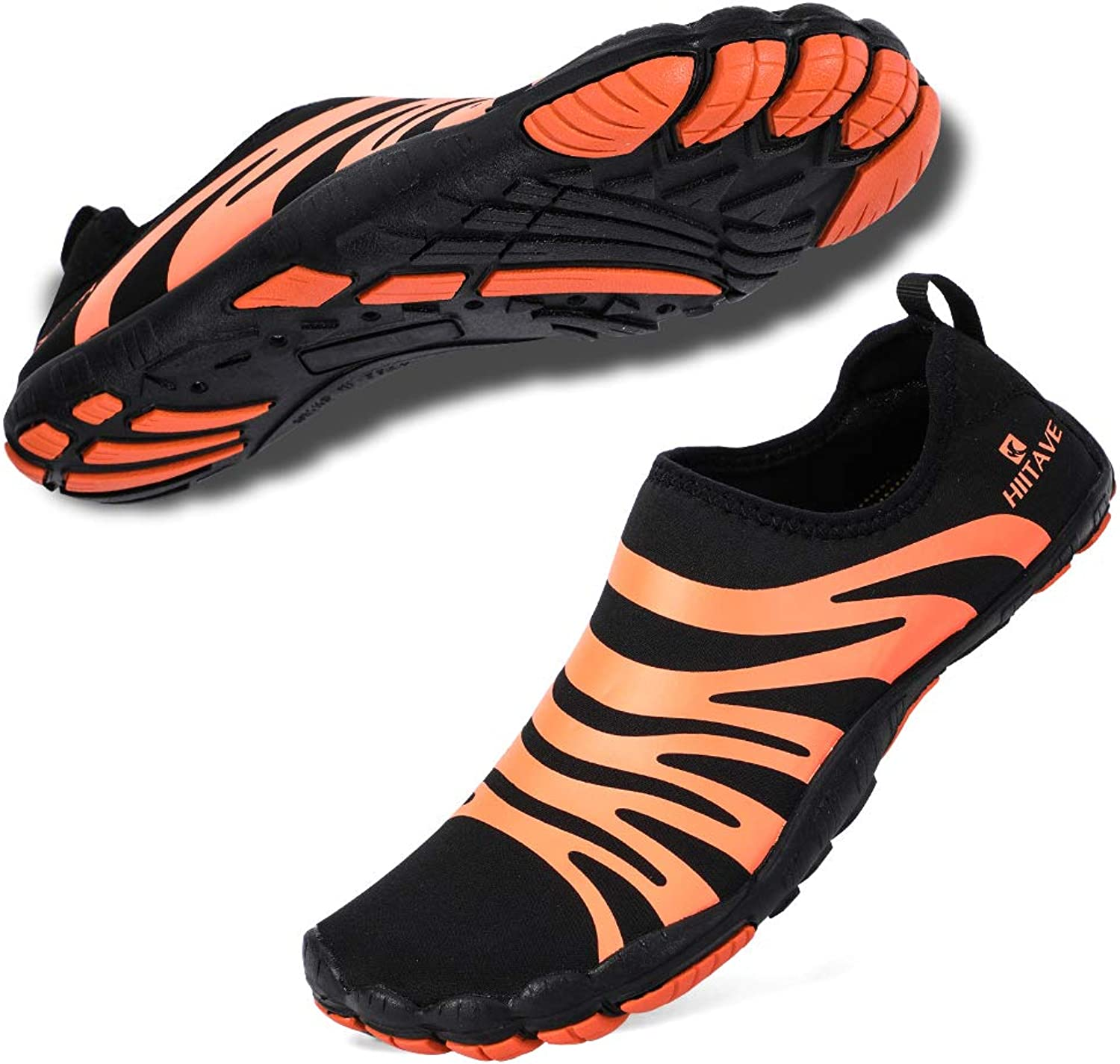 Hiitave Women Water shoes Barefoot Beach Aqua Socks Quick Dry for Outdoor Sport Hiking Swiming Surfing Black orange 9.5 10 M US Women