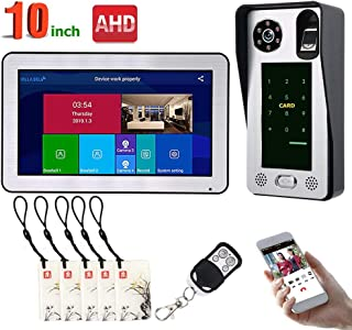 MOUNTAINONE 10 inch Wired WiFi Fingerprint IC Card Video Door Phone Doorbell Intercom System with AHD 720P Door Access Control System Support Remote APP Unlocking/Recording/Snapshot