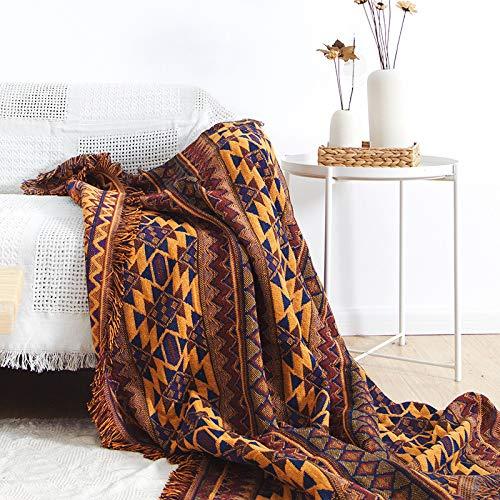 ARIESDY Reiner Baumwolle Geflochtene Boho Decken Sofas Tagesdecke Patchwork Strickdecke Jacquard Quasten Werfen Decke Sofa Stuhlabdeckung Tischdecke, 230 * 275 cmWestern Zoll