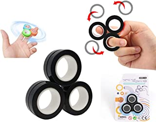 WELLSTRONG Magnetic Bracelet Ring Unzip Toy Magic Ring Props Tools Decompression Toys Magnetic Ring Blister Card Anti-Stre...
