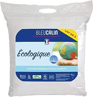 Bleu Câlin Lot de 2 Oreillers Ecologiques Blancs 60x60 cm OECH