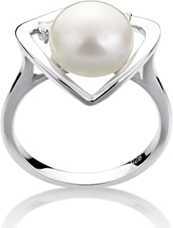 Katie Heart White 9-10mm AA Quality Freshwater 925 Sterling Silver Cultured Pearl Ring For Women