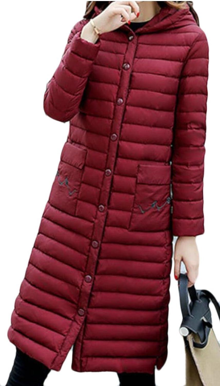 Omniscient Womens Warm Winter Lightweight Quilted Length Long Hoodie Down Puffer Parka Coat