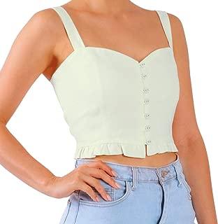 Senxcover Women's Crop Tank Tops, 100% Linen Casual Vintage Button Camisoles