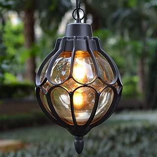 IJ INJUICY Outdoor Hanging Lantern, Rustic Waterproof Pendant Lighting Fixture in Painted Black Metal with Glass Globe, 7.1