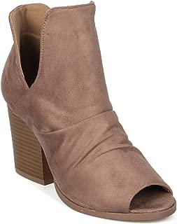 Women Faux Suede Peep Toe Block Heel Bootie - IA72 by Yoki Collection