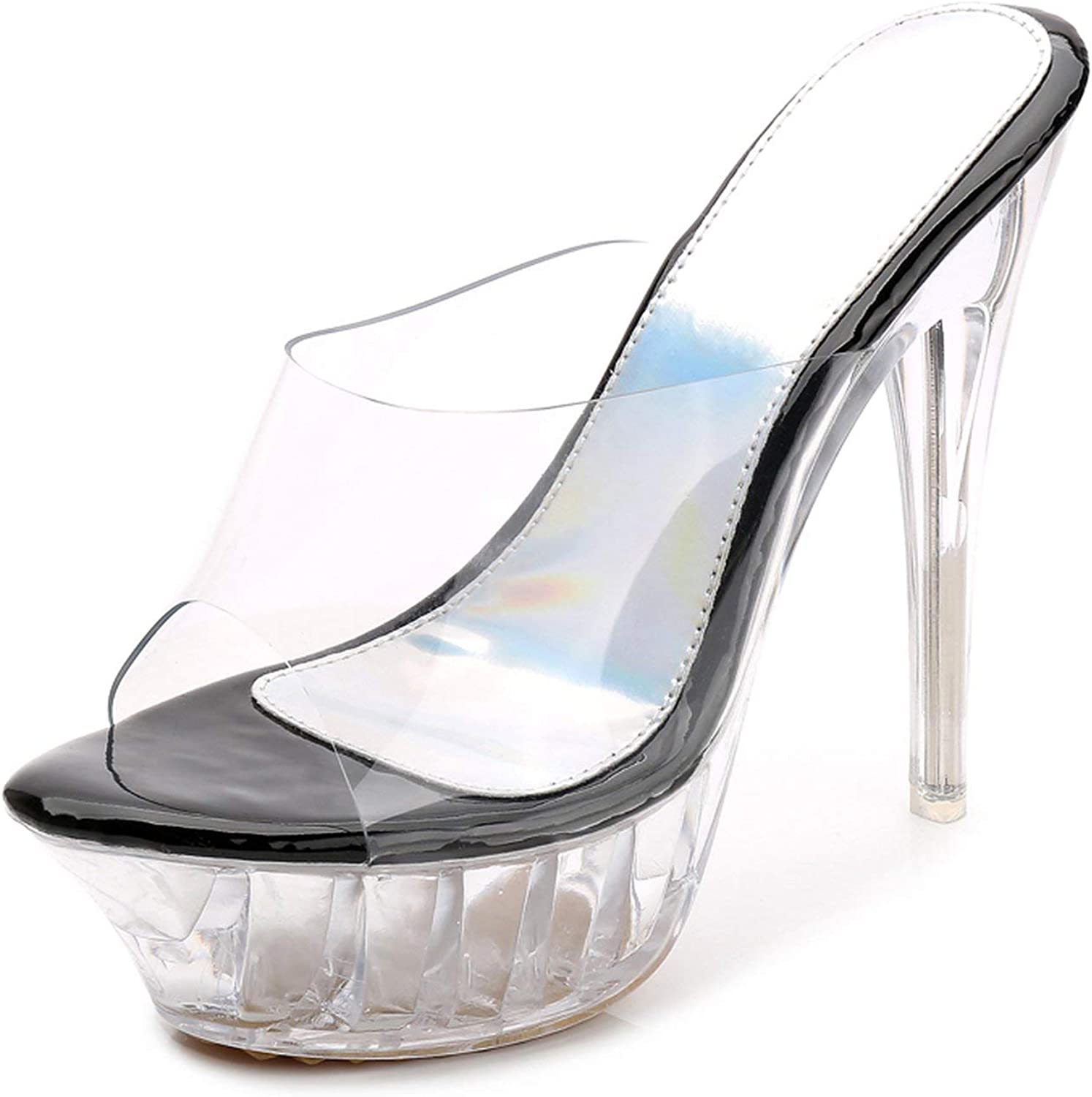 High Heels Womens Sandals Transparent Crystal Heel Model T Stage Sexy Lady Heeled shoes 35-43,1456black,11