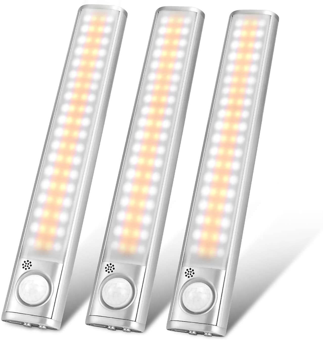 Under Cabinet Lighting 80 LED Closet Light, Motion Sensor Lights Indoor USB Rechargeable Dimmable Wireless Stick-on Night Light Bar for Kitchen, Wardrobe, Garage, Stairs, Bedroom (3 Packs)