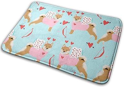 """Shiba Inu Love Bug Cupid Dog Breed Blue_24951 Doormat Entrance Mat Floor Mat Rug Indoor/Outdoor/Front Door/Bathroom Mats Rubber Non Slip 23.6"""" X 15.8"""""""