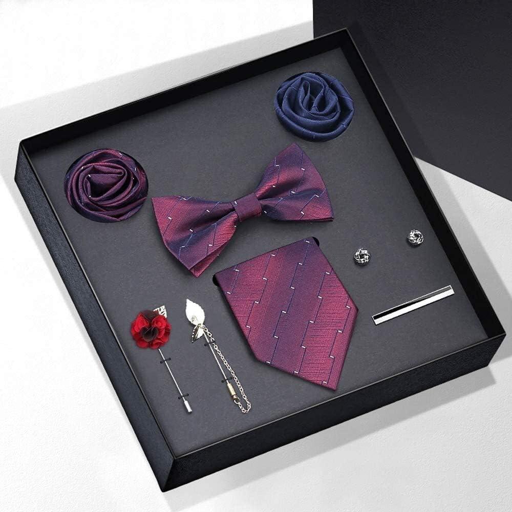 WYKDL Plaid Tie Men's Tie and Pocket Square Cufflinks Tie Clip Set Wedding Business tie Gift Box Practical