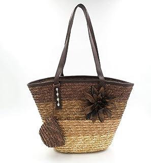 GSERA Gestrickte Strohhülle Weizenstange Weben Damenhandtaschen Blume Böhmen Umhängetaschen Lady's Beach Bag Große Tasche