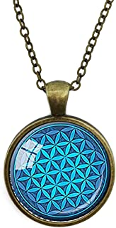 Silver Necklace Retro Flower Of Life Turquoise Sacred Geometry SpiritualSpecial Design Glass Cabochon Dome Jewelry by JEANCZ