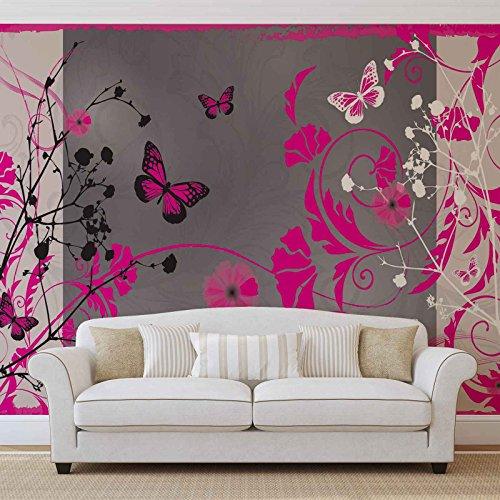 Patroon bloemen vlinders natuur - Forwall - fotobehang - behang - fotomural - Mural wandschilderij - (885WM) - M - 104cm x 70.5cm - VLIES (EasyInstall) - 1 stuk