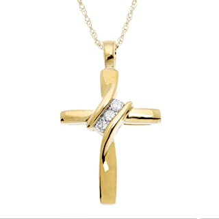 """JewelExclusive 10K Yellow Gold Natural Round-Cut Diamond Accent (I-J Color, I2-I3 Clarity) 3 Stone Cross Pendant 18"""""""