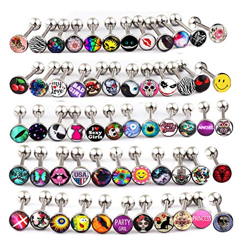 Fanpei Surgical Steel Tongue Ring Logo Barbell Bars 14 Gauge Body Piercing Jewelry Lot 30-50pcs