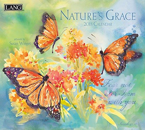 "Lang 18991001932-2018 Wall Calendar -""Nature's Grace"", Artwork by Susan Winget - 12 Month - Open 13 3/8"" X 24"""