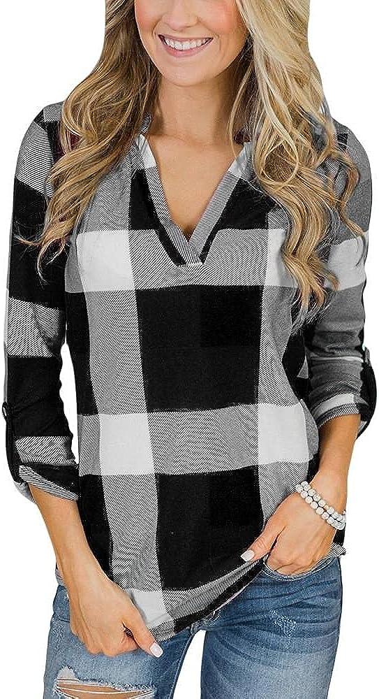 Masbird Fall Clothes for Women, Womens Long Sleeve V Neck Plaid Shirt Fall Sweatshirt Casual Cute Sweatshirt Hoodies