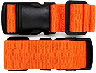 Pack of 2 Add-A-Bag Luggage Strap, Baggage Suitcase Adjustable Belt Straps Travel Accessories Attachment - Connect Your Three Luggages Together, Orange