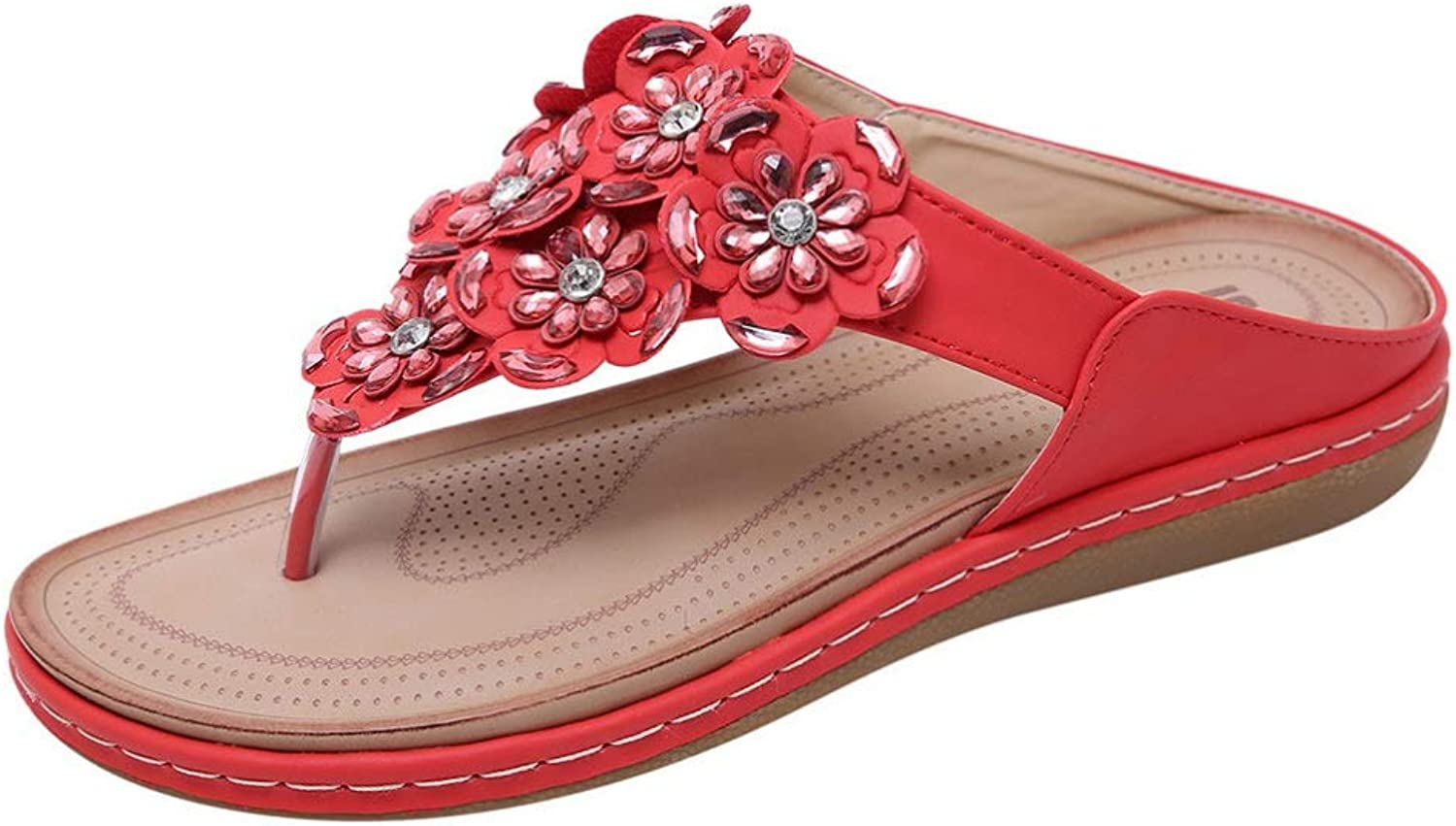 T-JULY Women's Flat Sandal Shallow Mouth Open Toe Crystal Flower with Buckle Beach Slippers Ladies Summer Roman Style shoes