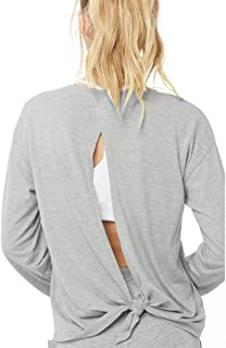 Women's Open Back Workout Yoga Gym Tops Long Sleeve Loose Fit Tie Back Shirts