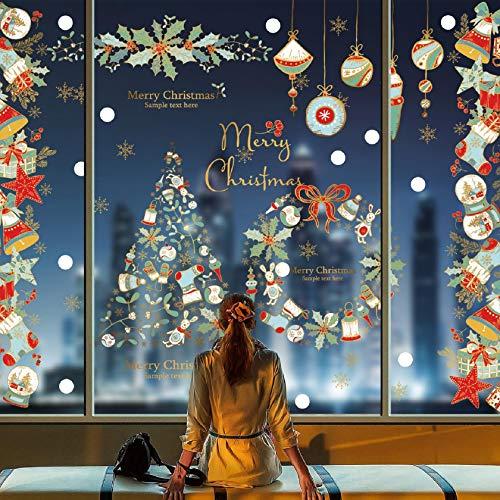 Tuopuda Natale Vetrofanie Addobbi Natale Adesivi Murali Rimovibile Stickers Finestra Rimovibile Addobbi Fai da Te Natale Decorazioni per Vetrine Negozi Casa