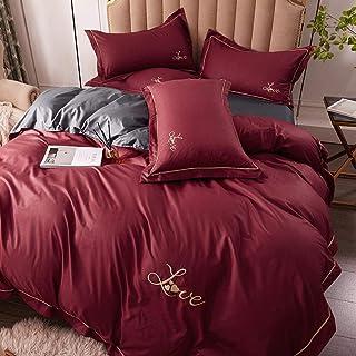 XYSQWZ Juego de Cama Kingsize, Juego de Cama de Seda Satinada Textiles para el hogar, sábanas y Fundas de Almohada de sába...