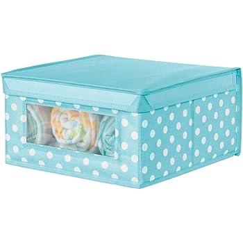 mDesign Caja apilable mediana – Caja con tapa para guardar ropa de bebé o mantas – Caja para armarios con ventana transparente y diseño de puntos – azul turquesa/blanco: Amazon.es: Hogar