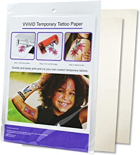 VViViD A4 Size Quick Apply Custom Inkjet Temporary Rub-On Tattoo Paper 2-Sheet Pack