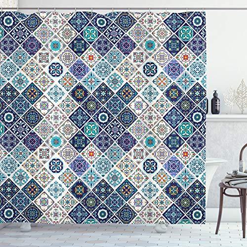 ABAKUHAUS traditionell Duschvorhang, Portugiesisch Retro Tile, Wasser Blickdicht inkl.12 Ringe Langhaltig Bakterie & Schimmel Resistent, 175 x 200 cm, Königsblau