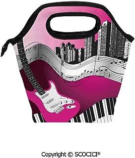 Insulation portable lunch box bag Bass Guitar Keyboard Urban Rock Backdrop Rhythm of City Illustration Soft Fabric lunch bag Mummy bag.