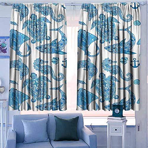Lovii Gordijn Panelen Set van 2 Moderne Boerderij Landgordijnen Anker Decor Collectie Anker Touw en Tropische Vissen Diepe Onderwater Clownfish Reef Vaartuig Afbeelding Groen Oranje Wit