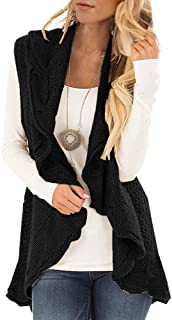 Womens Sweater Vest Plus Size Cable Knit Open Front Draped Cardigan Lapel Shawl Coats Outwear