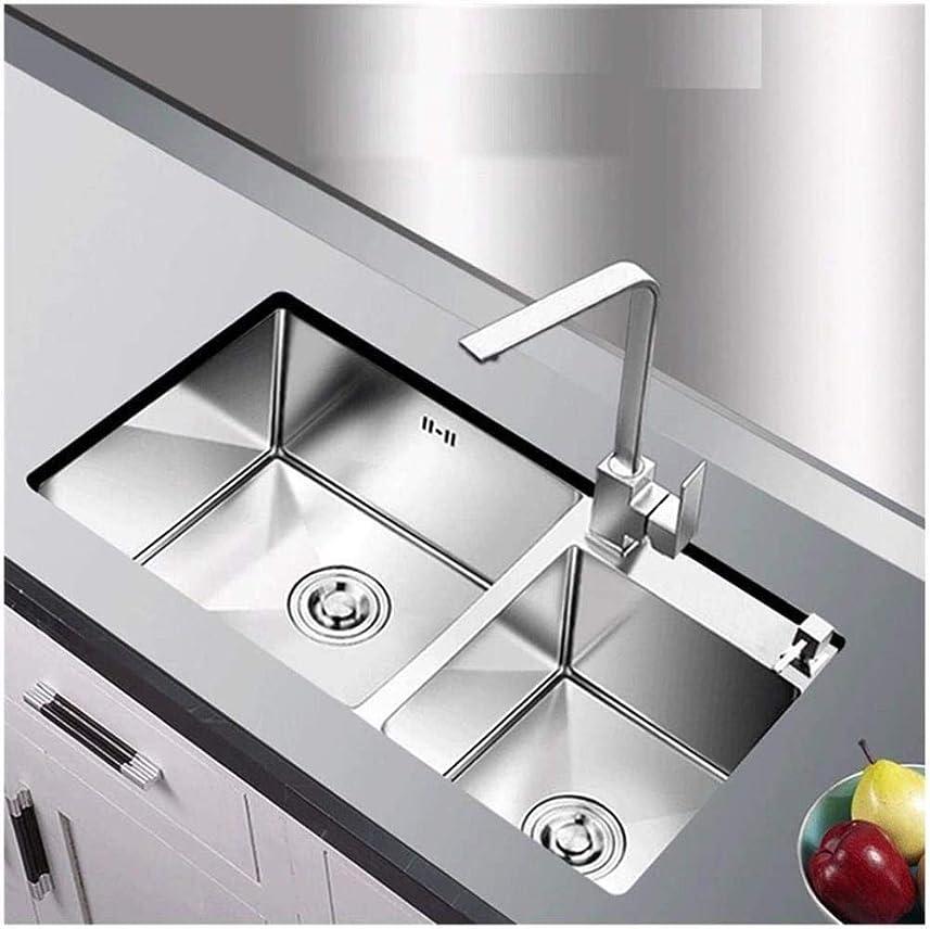 合併統計エンドウキッチンシンクオーバーフロー穴が内蔵大容量多機能ダブルシンクレストラン72 * 40センチメートル ZHJING