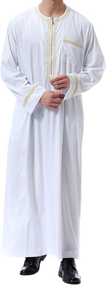 Ropa Abaya Maxi Vestidos Islamic-Hombre de Caftán Camisa Arabe Kaftan Manga Larga