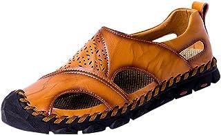 KItipeng Sandales Mules Tongs Homme éTé,Pas Cher Chaussures De Plage Surf Sport Marche,Cuir Respirant Chaussons Hommes Pan...