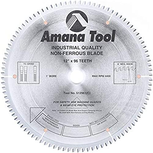 "discount Amana outlet online sale Tool - 512961 Carbide Tipped Aluminum & Non-Ferrous Metals 12"" Dia high quality x 96T Tcg outlet online sale"