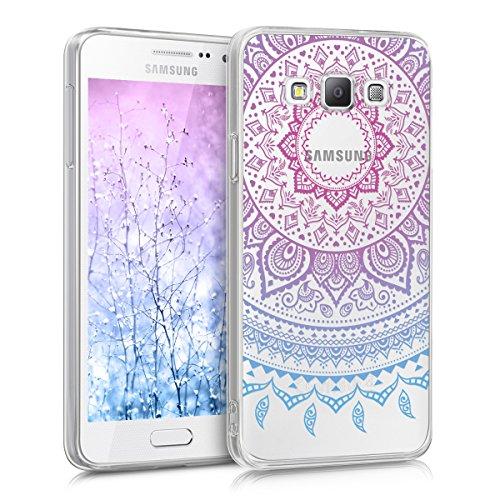 kwmobile Case kompatibel mit Samsung Galaxy A3 (2015) - Hülle Silikon transparent Indische Sonne Blau Pink Transparent