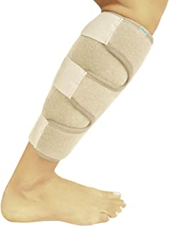 Vive Calf Brace - Adjustable Shin Splint Support - Lower Leg Compression Wrap Increases Circulation, Reduces Muscle Swelling - Calf Sleeve for Men and Women - Pain Relief (Beige)