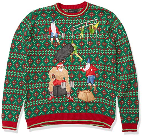 Blizzard Bay Men's Ugly Christmas Sweater Fitness, Green/White, Large