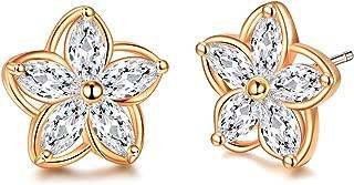 Flower Stud Earrings 14K Gold Plated Cubic Zirconia Earrings Hypoallergenic Fashion Stud Earrings for Women Girls