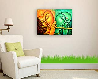 SIGN EVER Lord Radha Krishna Wall Art Canvas Painting Gift Items Home Decorative Living Room Office Indian Traditional(24x...