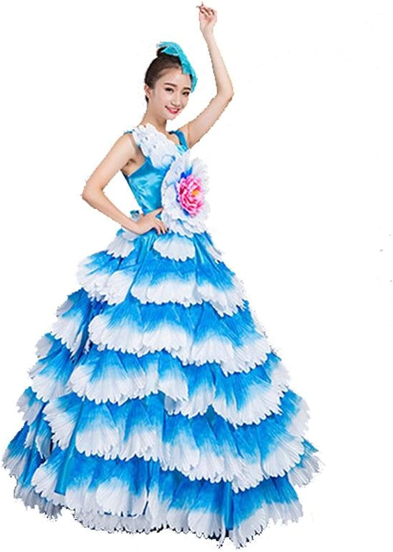 OOFAY Women Flamenco Dress 180 360 540 720 Degreen Sleeveless Company School Business Activities Flowers Petals Skirt Stage Opening Dance Dress Performance Chorus