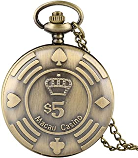 BIANGFEI Retro Macau Casino Chip Money Poker Design Quartz Pocket Watch Copper Nostalgia Fob Necklace Watch Souvenir Gifts for Men Women