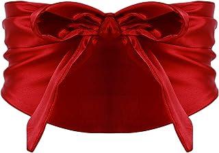 Yinew, Cintura Larga con Fiocco, Morbida e Liscia, alla Moda, Accessorio Decorativo per Le Donne, Seta, Rosso, As Description