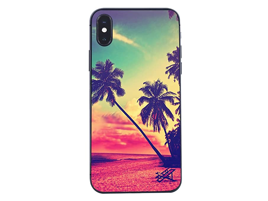 iPhone X Case/iPhone Xs Case,Blingy's Scenic Style Protective Soft TPU Rubber Case Compatible for iPhone X and iPhone Xs (Beach Palms)